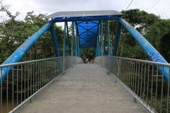 Alte blaue Brücke, die zu einen Bereich mit vielen Bäumen führt lizenzfreie stockfotos