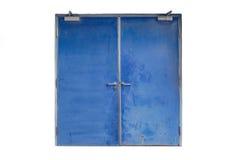 Alte blaue Eisentür lokalisiert auf Weiß Lizenzfreie Stockfotos
