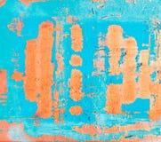 Alte blaue Farbe auf rostigem Metallhintergrund Lizenzfreie Stockbilder