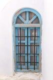 Alte blaue Fenster-Tür Santorini Lizenzfreies Stockfoto