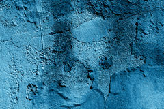 Alte blaue gebrochene Wand Stockfotos