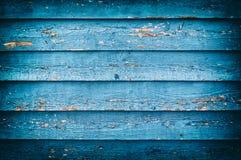 Alte blaue gemalte hölzerne Wand Lizenzfreie Stockfotografie