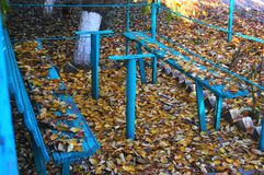 Alte blaue Holzbank und gefallener Herbstlaub Lizenzfreie Stockbilder
