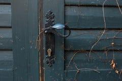 Alte blaue Holztüren mit Weinleseschwarztürgriff Stockfotografie