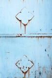 alte blaue Metallwand Stockfotografie
