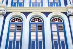 Alte blaue portugiesische Tür Stockfotos