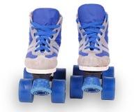 Alte blaue Rollerblades Lizenzfreie Stockfotos