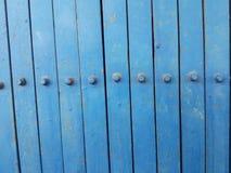 Alte blaue Stahltürbeschaffenheit Stockbild