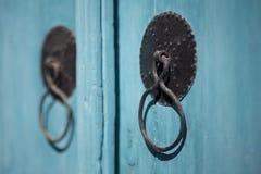 Alte blaue Tür Stockfoto