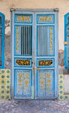 Alte blaue Tür auf der Insel von Pangkor Lizenzfreies Stockbild
