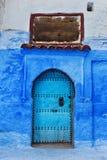 Alte blaue Tür in Marokko Lizenzfreies Stockbild
