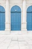 Alte blaue Türen Stockbild
