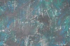 Alte blaue und grüne schädigende alte gemalte Wand Alte Backsteinmauer Stockbilder