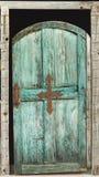 Alte blaugrüne Tür Lizenzfreie Stockfotos