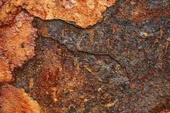 Alte Blechtafel des Eisens mit Rost Zusammenfassungshintergrund Stockbild