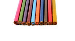 Alte Bleistifte lokalisiert Lizenzfreie Stockfotos