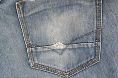 Alte Blue Jeans-Beschaffenheit der Nahaufnahme für Hintergrund Lizenzfreies Stockbild