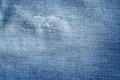 Alte Blue Jeans-Beschaffenheit mit Kratzern Lizenzfreie Stockbilder