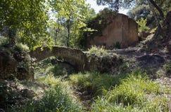 Alte Bogenbrücke und Olive Mill /Press Stockbild