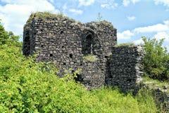 Alte Bollwerksschloss-Turmruinen in der grünen Vegetation Stockfoto