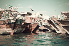 Alte Boote auf dem Fluss Lizenzfreies Stockbild