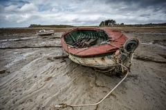 Alte Boote in Brittany France Lizenzfreie Stockfotos