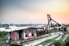 Alte Boote in Chittagong, Bangladesch Lizenzfreie Stockfotos