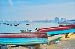 Alte Boote in der Großstadt, Alexandria, Ägypten Lizenzfreie Stockfotografie