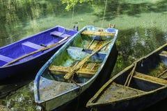 Alte Boote in einer Lagune Stockfotos