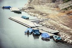 Alte Boote am Pier in Gyor Lizenzfreie Stockfotografie