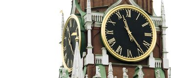 Alte Borduhr auf Kontrollturm (Russland, Kremlin-Zargen) Stockfotografie