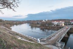 Alte Brücke auf der Wolga Rzhev, Tver-Region Lizenzfreie Stockbilder