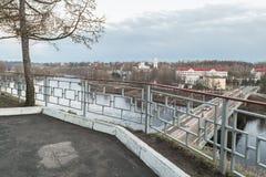 Alte Brücke auf der Wolga Rzhev, Tver-Region Lizenzfreies Stockbild
