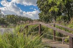 Alte Brücke im nebelhaften Park des Herbstes Lizenzfreie Stockbilder