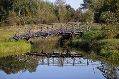 Alte Brücke im nebelhaften Park des Herbstes Lizenzfreie Stockfotos
