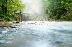 Alte Brücke im Wald mit Sonne strahlt Abflussrinne der Wald aus Lizenzfreie Stockfotografie
