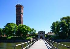 Alte Brücke in Kalmar-Stadt Lizenzfreie Stockfotografie