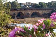 Alte Brücke, trockenes Flussbett, Stadt Niebla, Spanien Stockbild