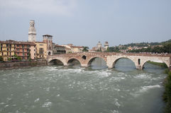 Alte Brücke in Verona Stockfoto