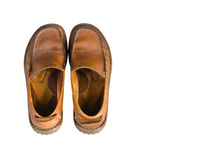 Alte braune lederne Männer ` s Schuhe Lizenzfreie Stockbilder