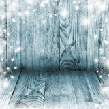 Alte Bretter und frischer Schnee Winter Weihnachten Hintergrund Lizenzfreies Stockfoto