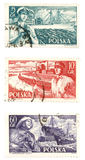 Alte Briefmarken von Polen Stockbild