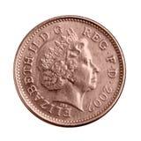 Alte britische Bronzemünze mit Königin Elizabeth II Lizenzfreie Stockbilder