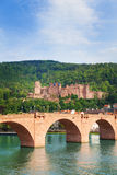 Alte Brucke bridge and Heidelberg castle view Stock Image