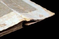 Alte Bucheinband-Weinlesebeschaffenheit lokalisierte verbindlichen Papierbuchstaben Yid des schwarzen Manuskriptes des Hintergrun Stockfotos