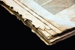 Alte Bucheinband-Weinlesebeschaffenheit lokalisierte verbindlichen Papierbuchstaben Yid des schwarzen Manuskriptes des Hintergrun Stockfoto