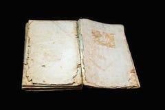 Alte Bucheinband-Weinlesebeschaffenheit lokalisierte verbindlichen Papierbuchstaben Yid des schwarzen Manuskriptes des Hintergrun Stockfotografie