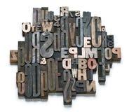 Alte Buchstaben und Zahlen Stockfotografie