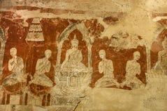 Alte Buddha-Geschichtenfarbe in der thailändischen Tempelwand Lizenzfreies Stockbild