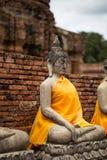 Alte Buddha-Statue an Chaiwatthanaram-Tempel, Ayutthaya Stockbilder